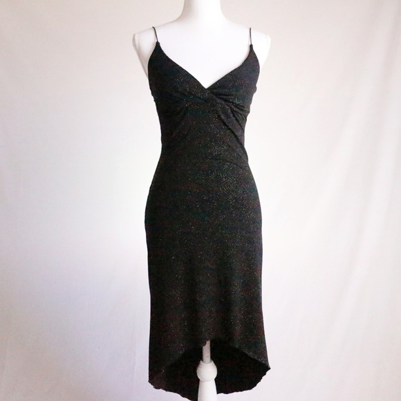 76af70132aede Vintage Dresses   Vtg 90s Black Glitter Hi Lo Bodycon Prom Dress S ...